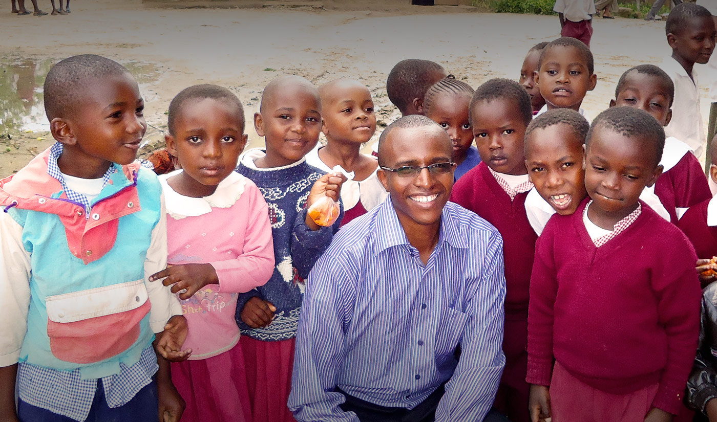 Joel Macharia and Kenya children