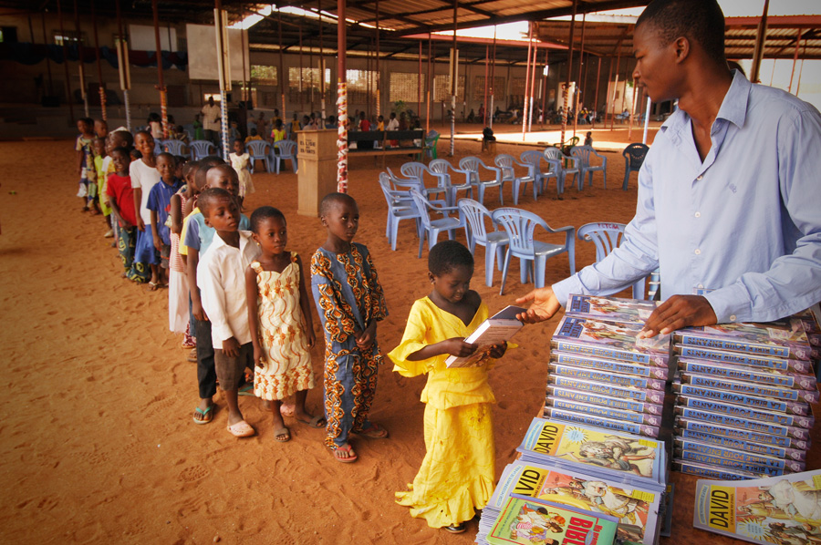 Distributing bibles in Togo