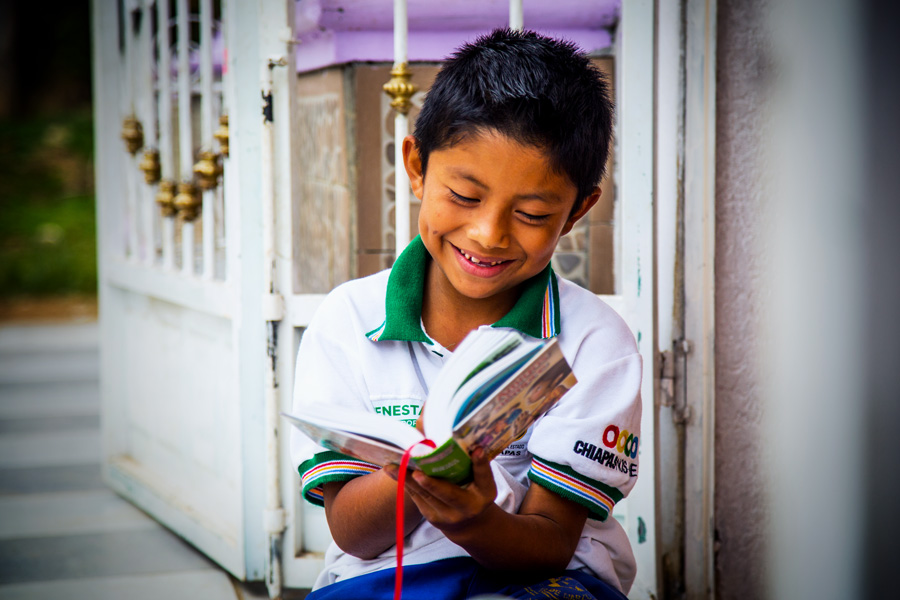 Boy Reading Bible in Mexico