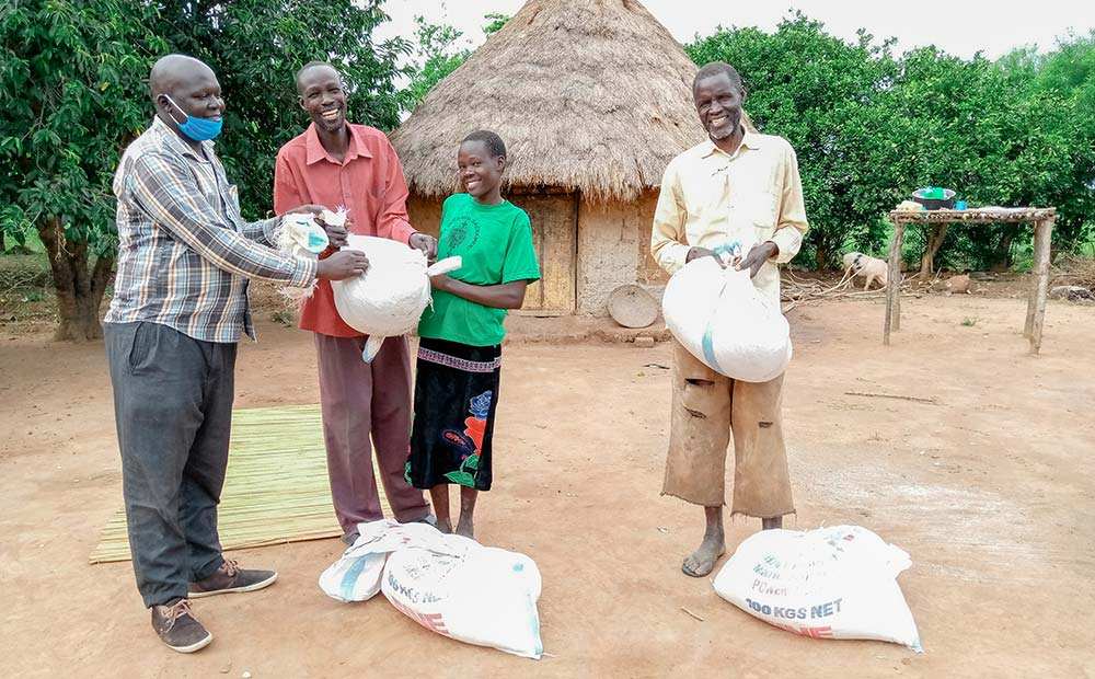 Food relief for families in Uganda