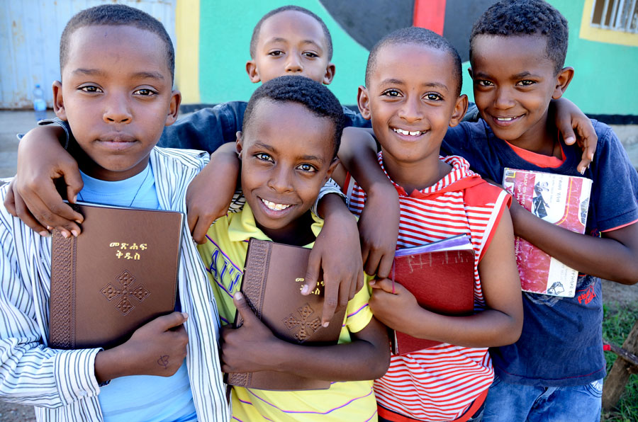 Ethiopian children with Bibles