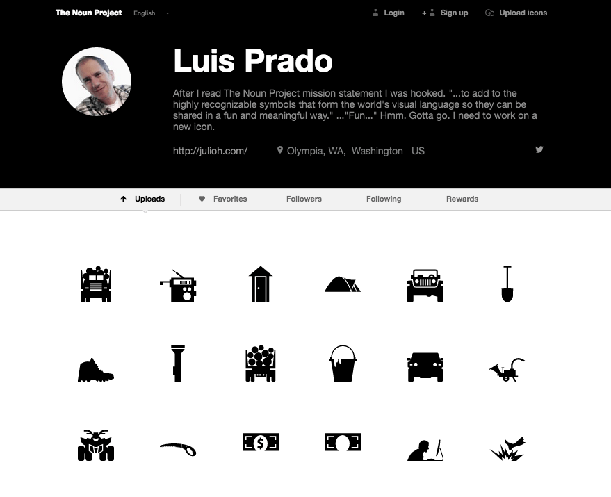 Image of an example of a Profile on The Noun Project