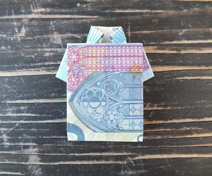 hemd aus geldschein falten mit einfacher anleitung auf. Black Bedroom Furniture Sets. Home Design Ideas