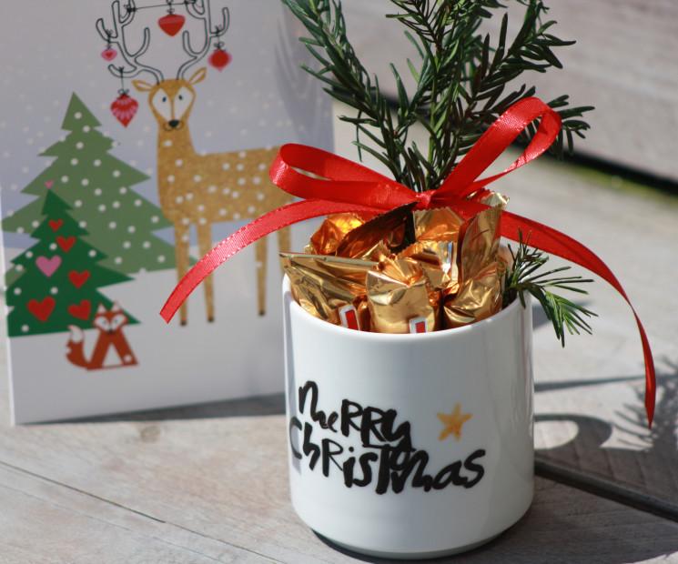 Selbst Gemachte Tasse Mit Süßem Weihnachtsgruß Als Weihnachtsgeschenk