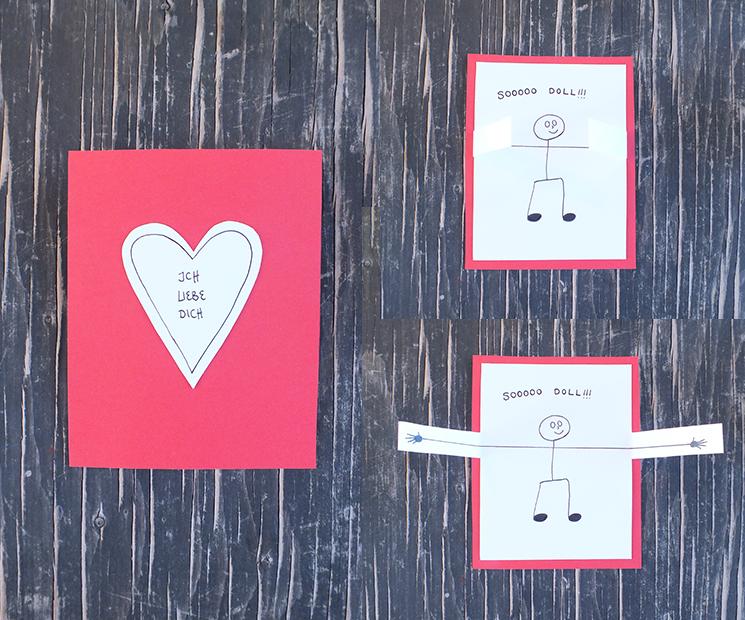 Valentinstagskarte Selbstgemacht Mit Aufklapparmen