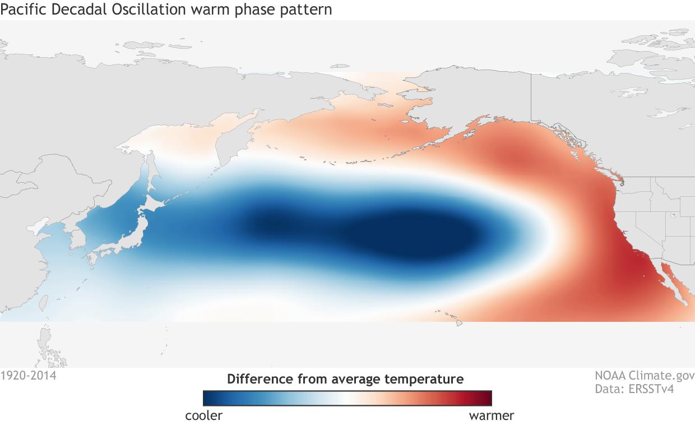 Pacific Decadal Oscillation - PDO - Sea Surface Temps map - NOAA Climate
