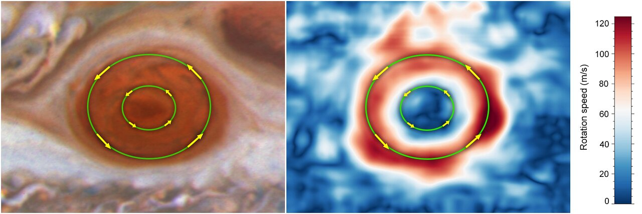 Great Red Spot lanes Jupiter - heic2110a - NASA, ESA, M.H. Wong