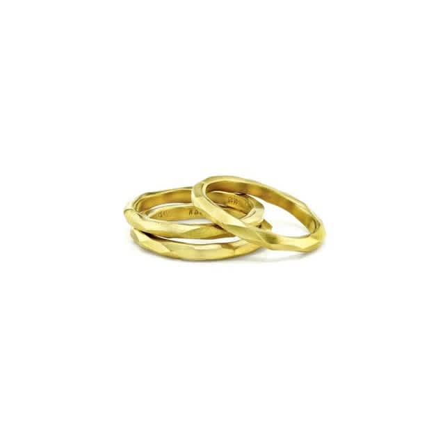 Gold Carved Stack Rings cr102