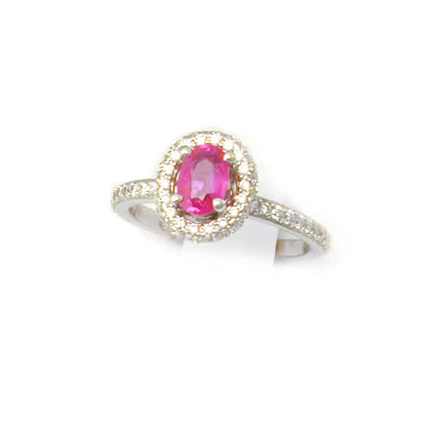 Ring Solitaire w/ 0.65ct Oval Pink Sapphire