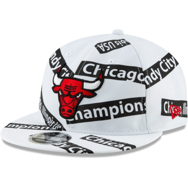 huge discount d1528 6b6f9 Chicago Bulls New Era Team Taped Retro Crown 9FIFTY Adjustable Snapback Hat  - White