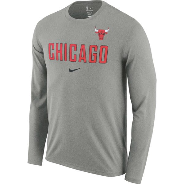 cc3d7e090 Men s Nike Heathered Charcoal Chicago Bulls Essential Facility Slub  Performance Long Sleeve T-Shirt