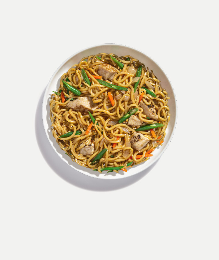 Chicken Yakisoba Noodles Plated