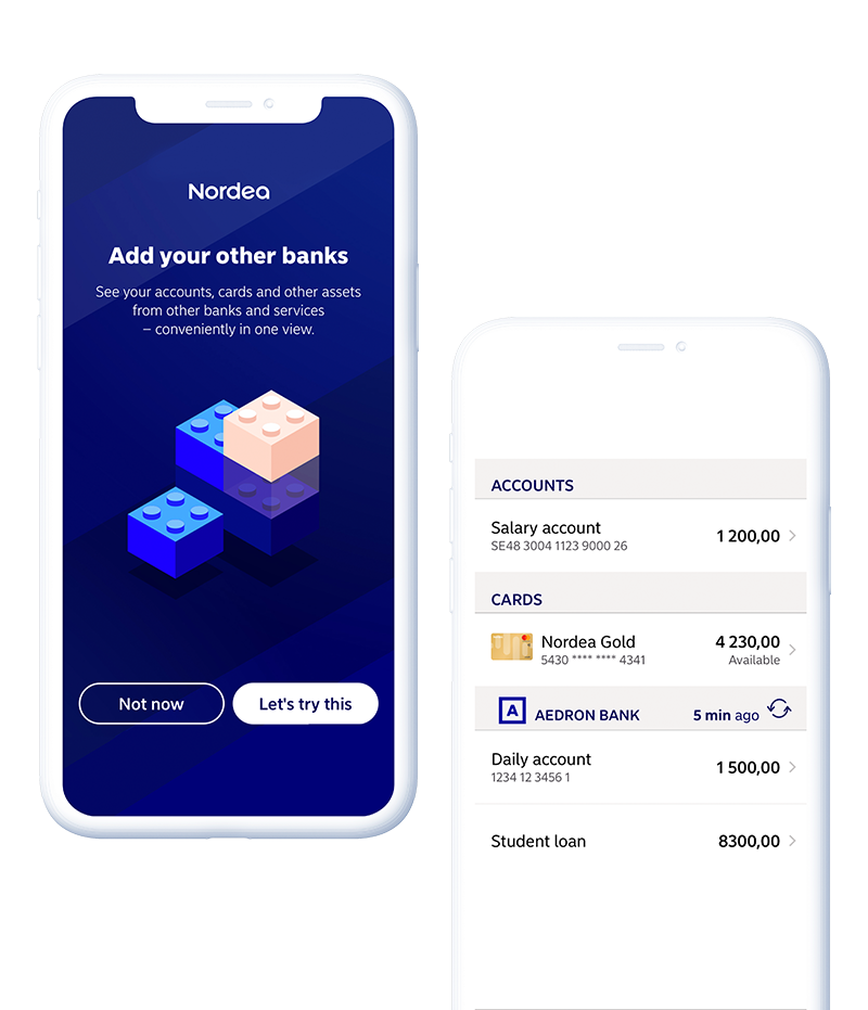 Nordea, the largest financial group in the Nordics, partnered with Tink to give their customers a more complete, multi-banking experience in their mobile banking app.  This helps Nordea make daily banking more easy and convenient for customers, since they can see all their different accounts – including those from other banks – in the Nordea app.