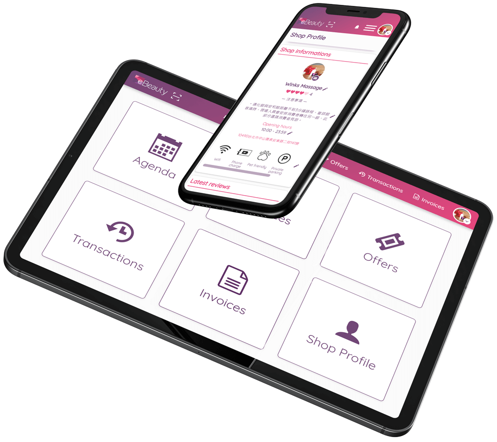 ebeauty Management Platform on Tablet