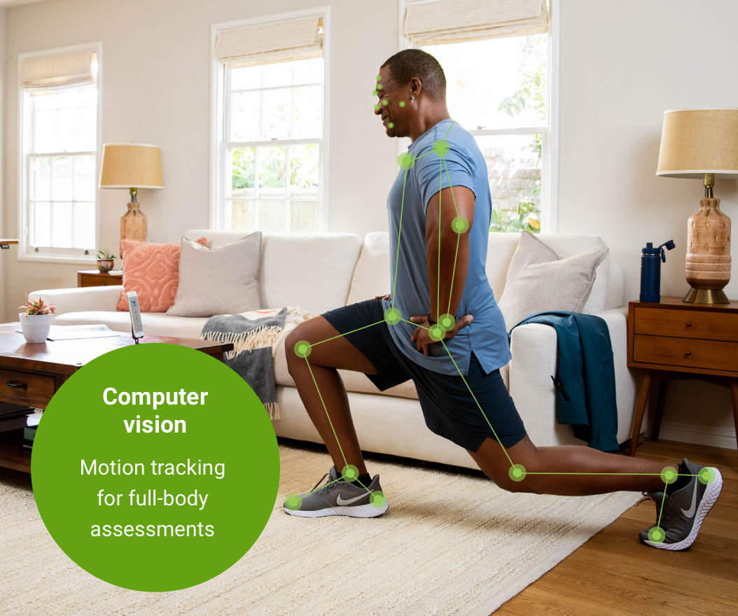 person doing exercise and being monitored with sensors