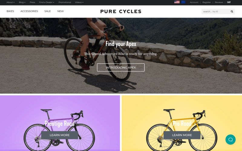 Best Shopify stores Pure Cycles