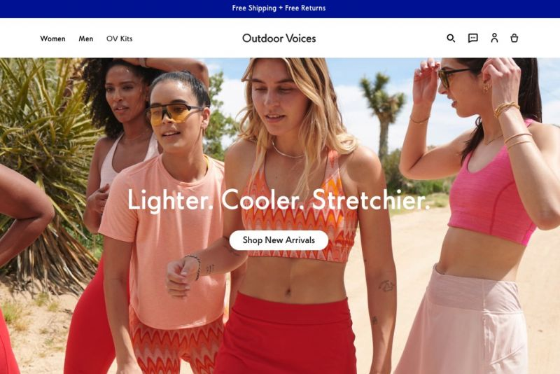 Best Shopify stores Outdoor Voices 2 0