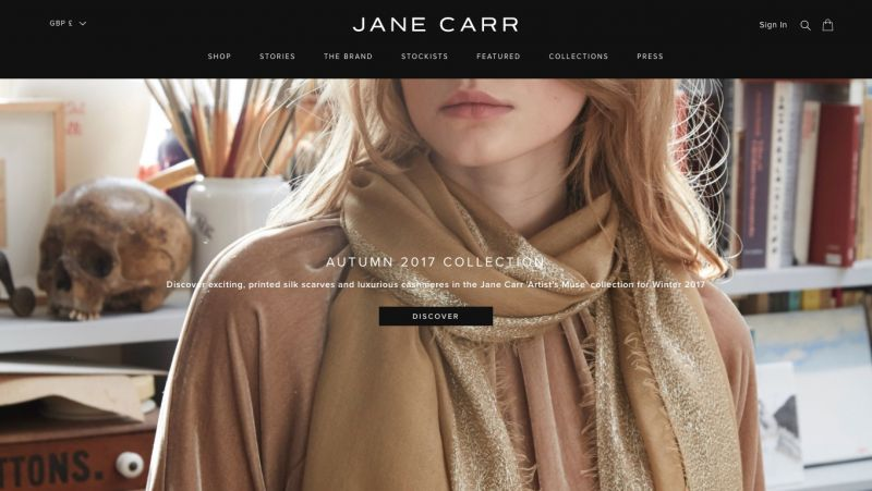 Best Shopify stores Jane Carr
