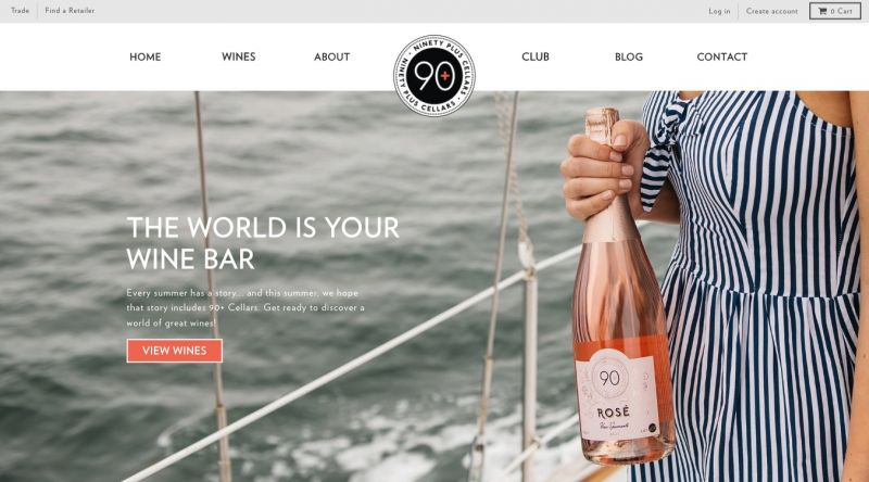 Best Shopify stores Ninety Plus Cellars