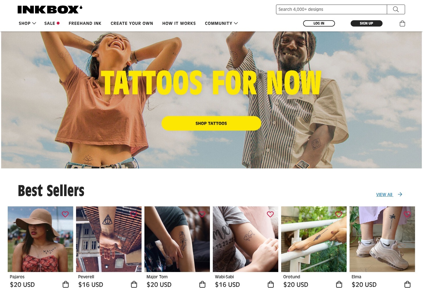 Headless e-commerce build Inkbox™ Tattoos for now