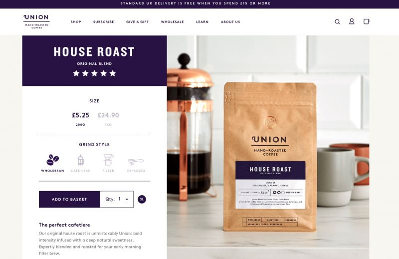 Best drinks brands on Shopify Union Coffee