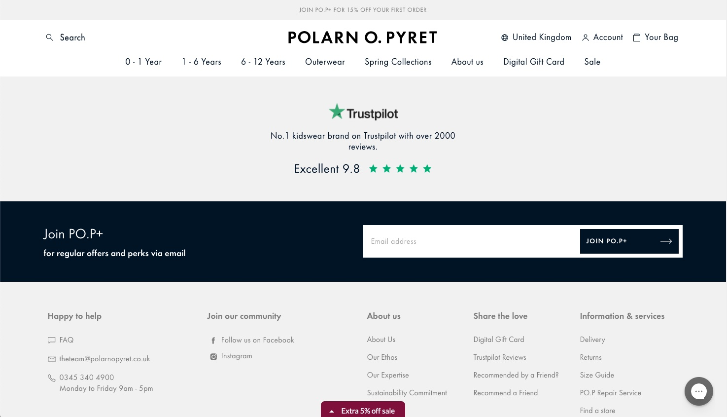 Trustpilot on Polarn's store