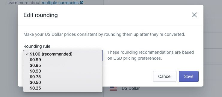 Shopify multi-currency price currency rounding