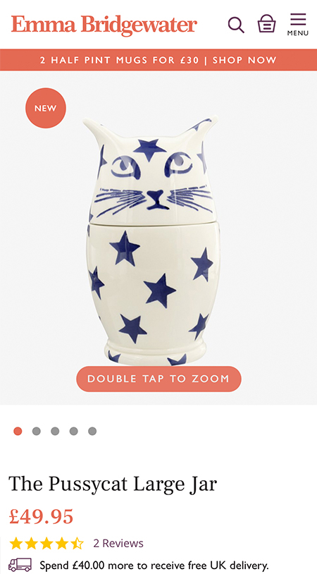 Emma Bridgewater Mobile | Shopify Plus Build | Shopify Agency UK