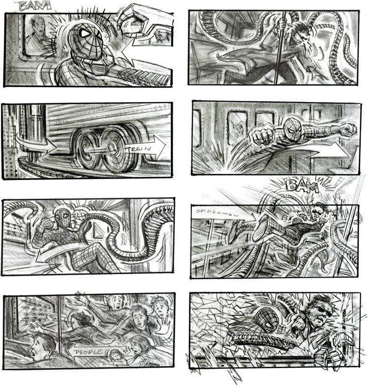 spiderman 2 storyboard