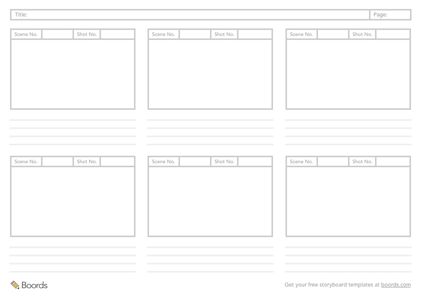 A4 Landscape 6 Frame Storyboard Template Preview