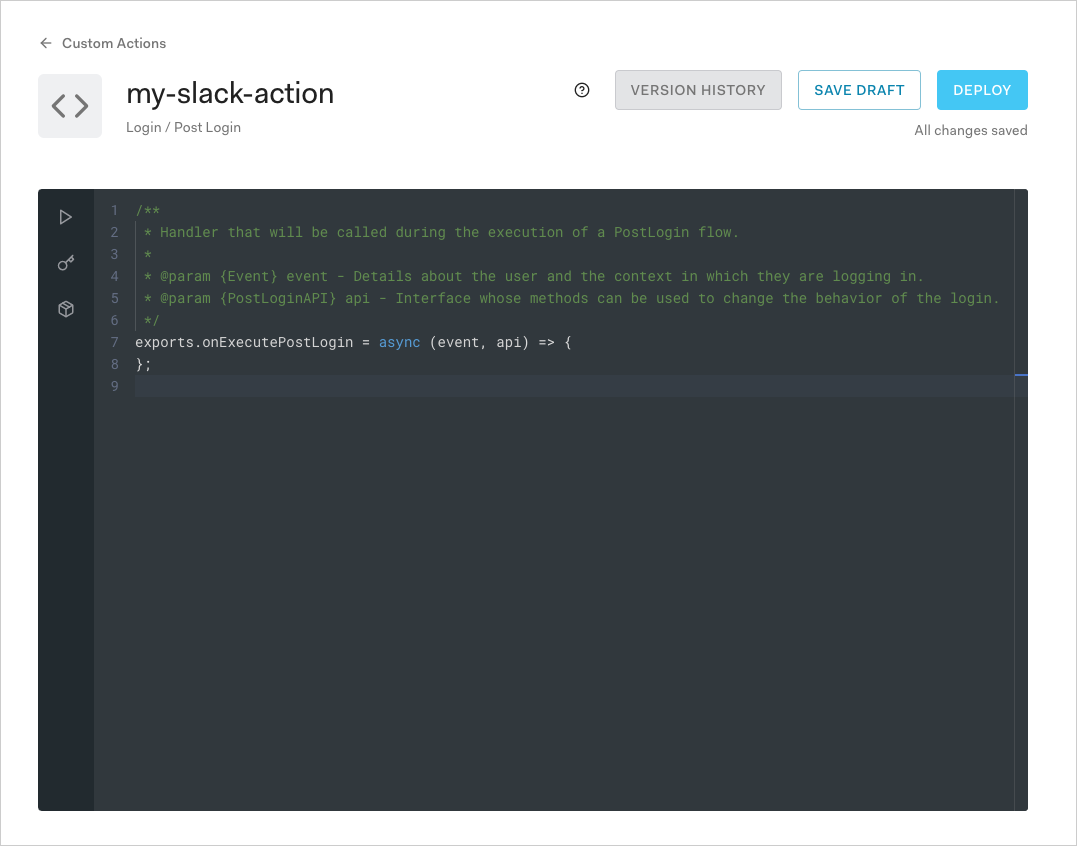 Actions Code Editor