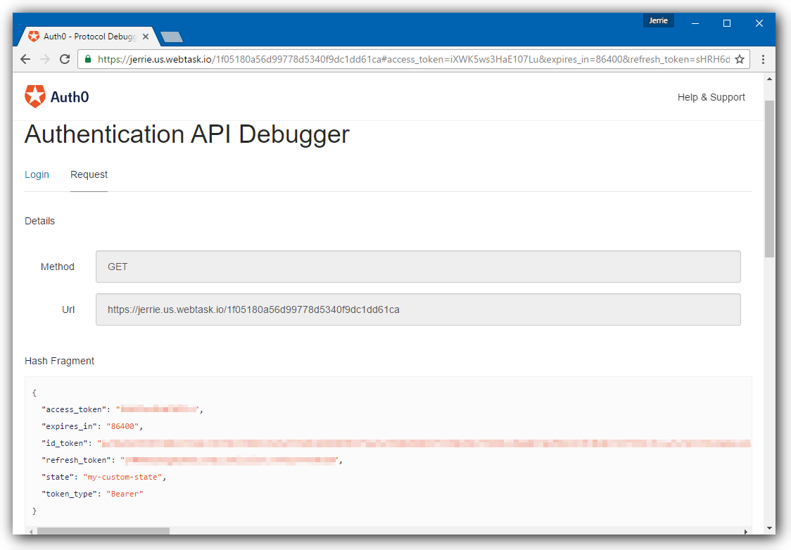 Dashboard - Extensions - Authentication API Debugger - Flow Executed