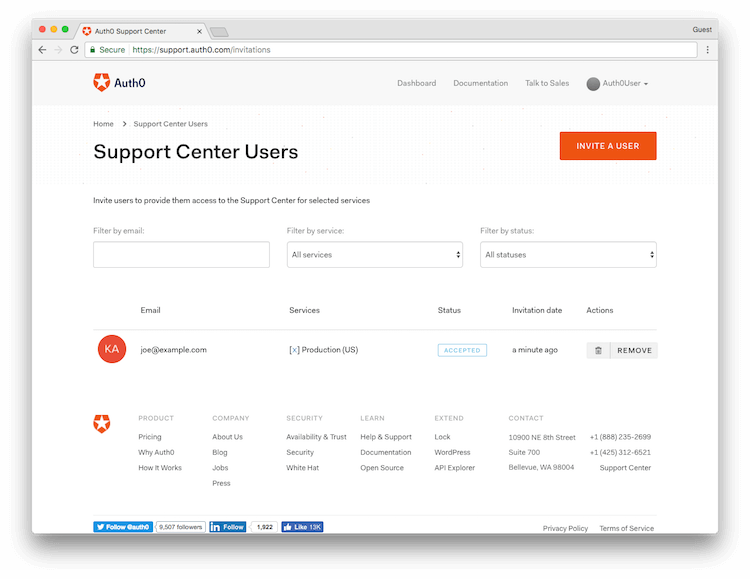 Support Options Manage Users Screen