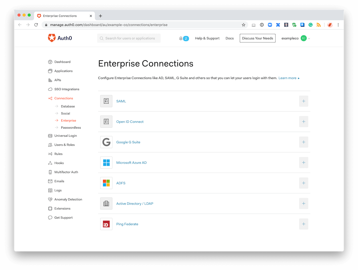 Dashboard - Connections - Enterprise
