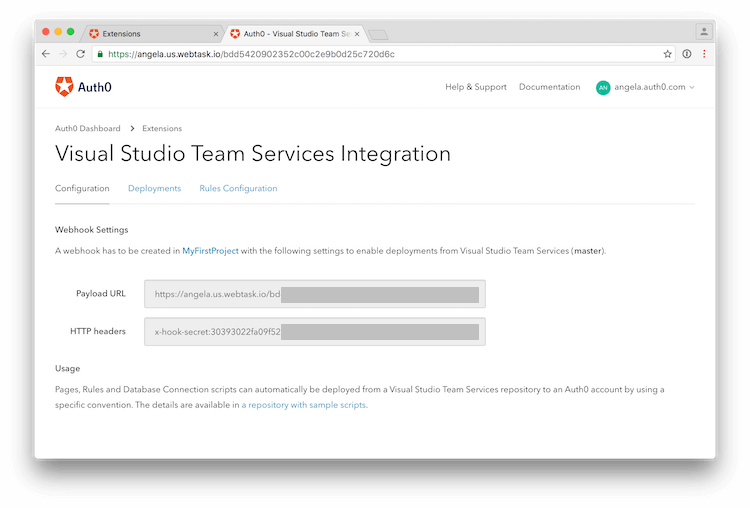 Dashboard - Extensions - Visual Studio TS - VSTS Integration