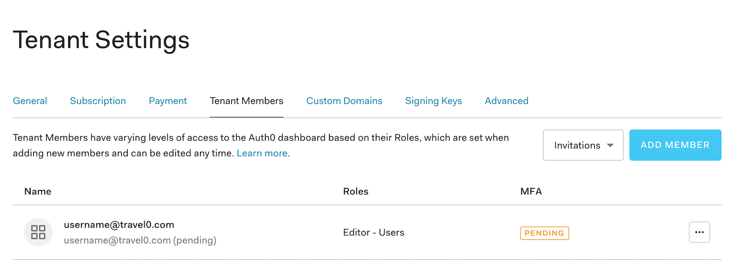 Dashboard - Tenant Settings - Tenant Members