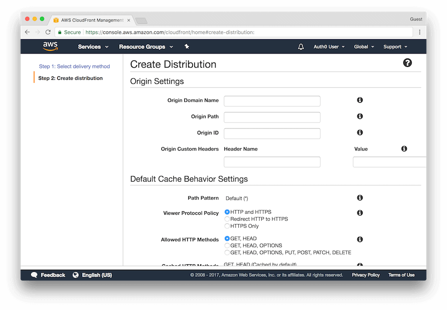 Custom Domains: Cloudfront create distribution