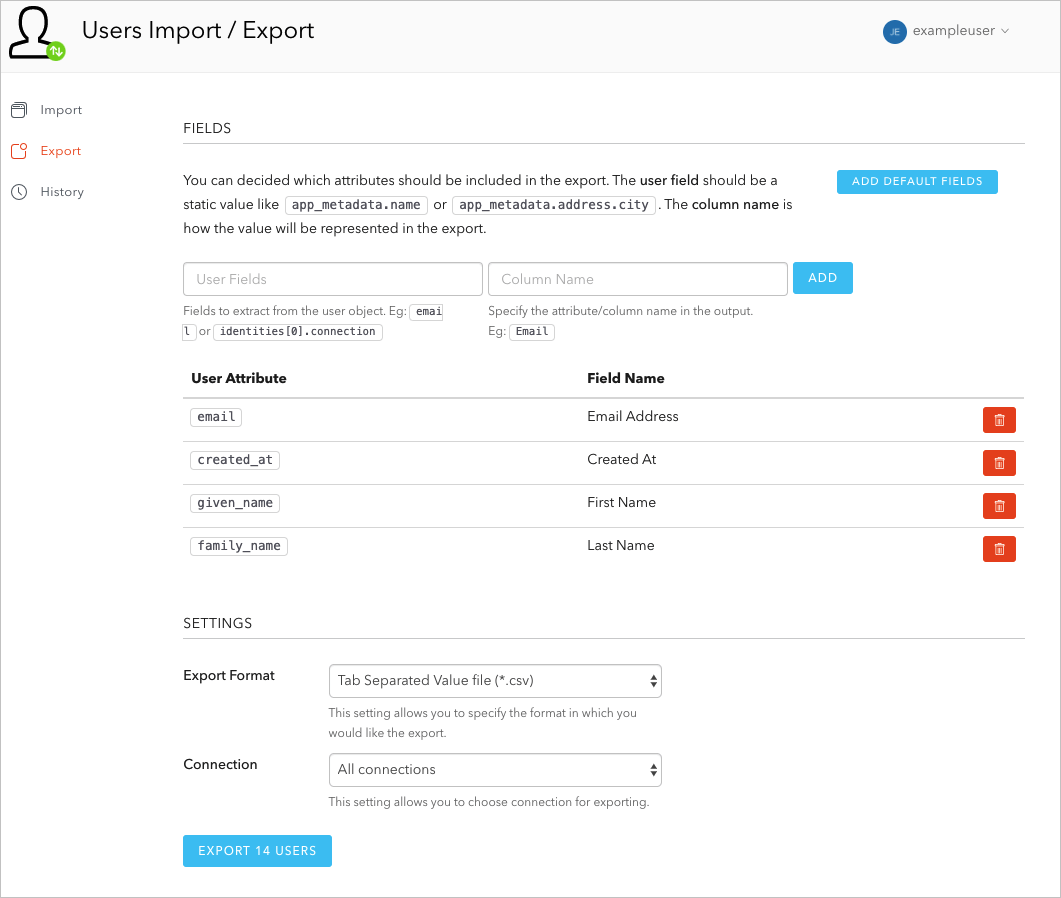 Dashboard - Extensions - User Import/Export Extension Fields