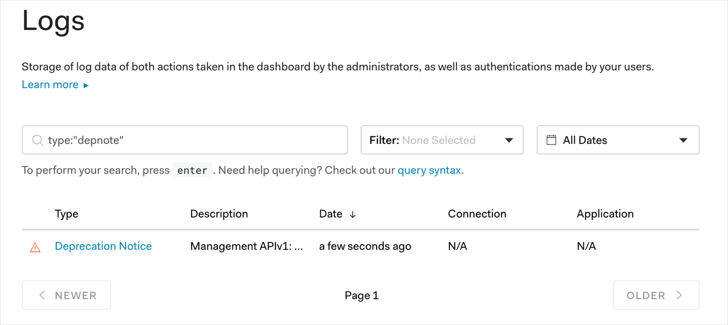 Management API v1 Log Query screen