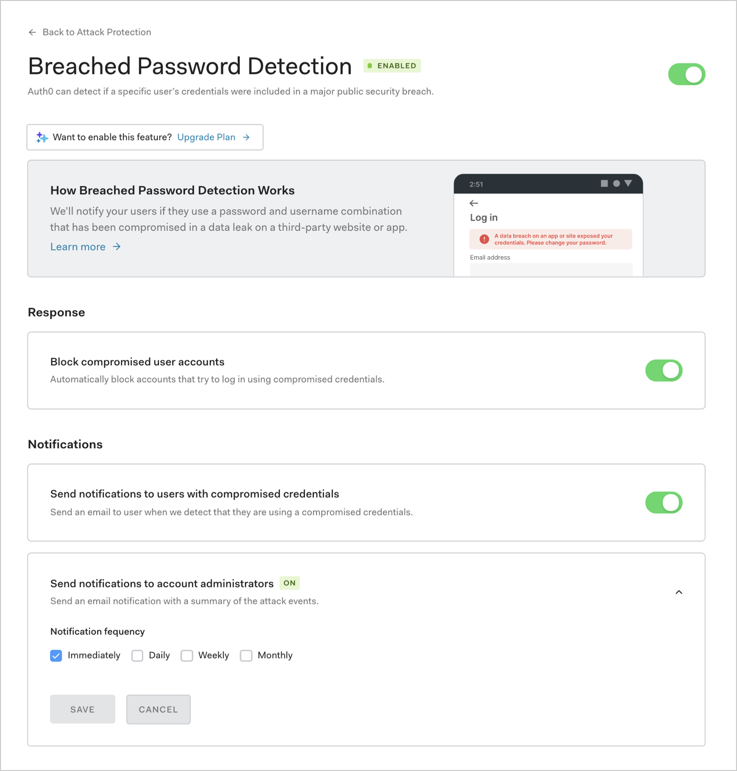 Dashboard Attack Protection Breached Password Detection page
