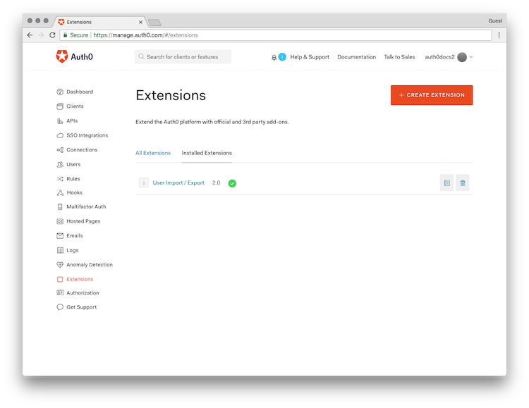 Dashboard - Extensions - Users Import Export - Installed Extensions List