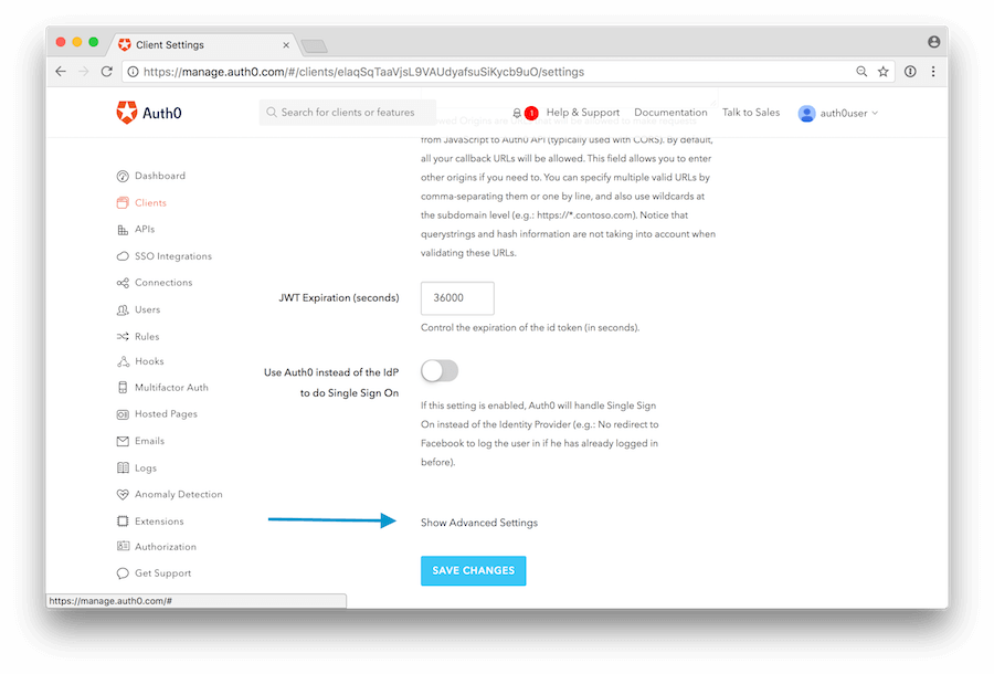 Dashboard - Extensions - Authorization Extension - Advanced Settings
