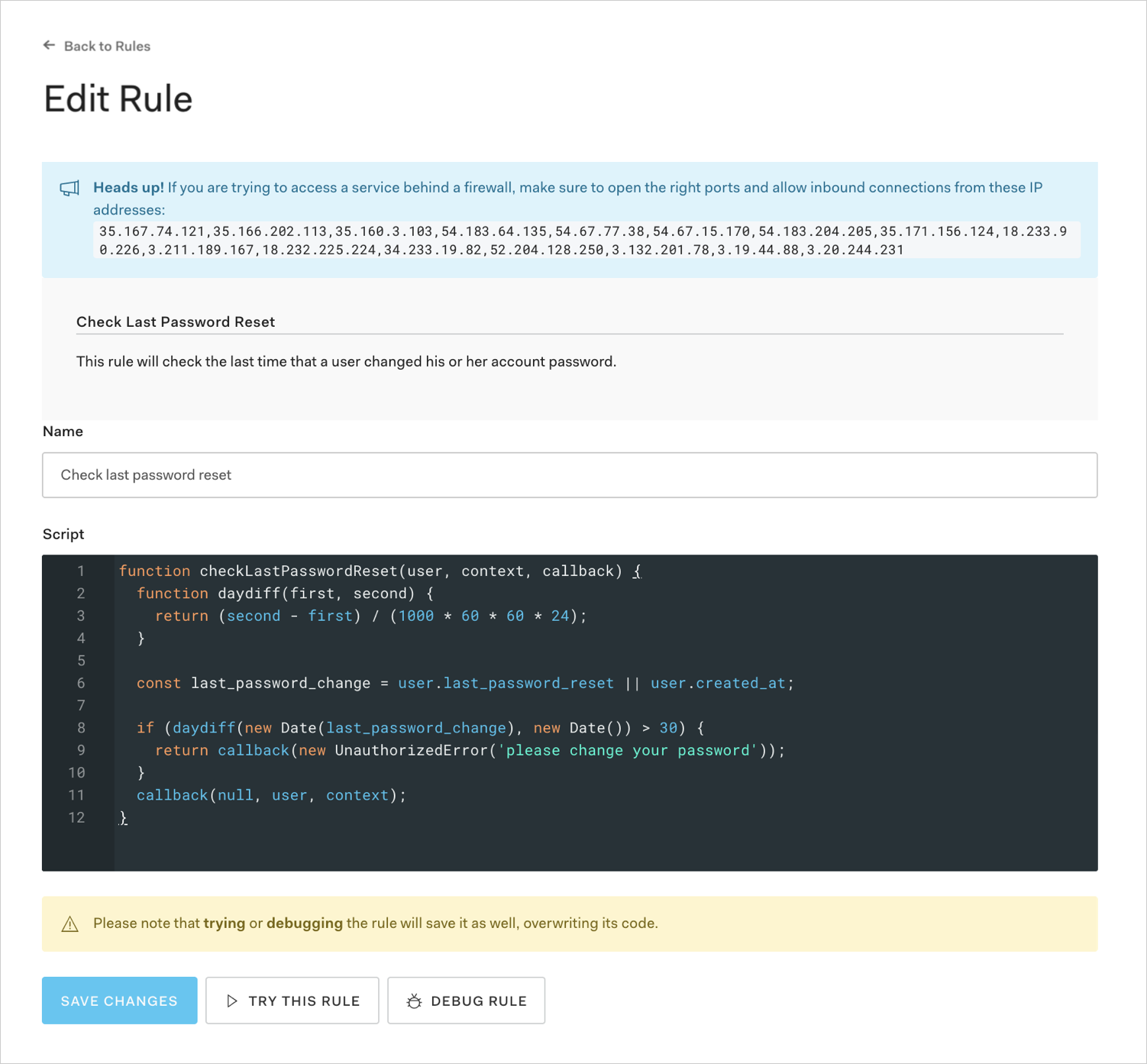 Dashboard - Auth Pipeline - Rules - Edit Rule