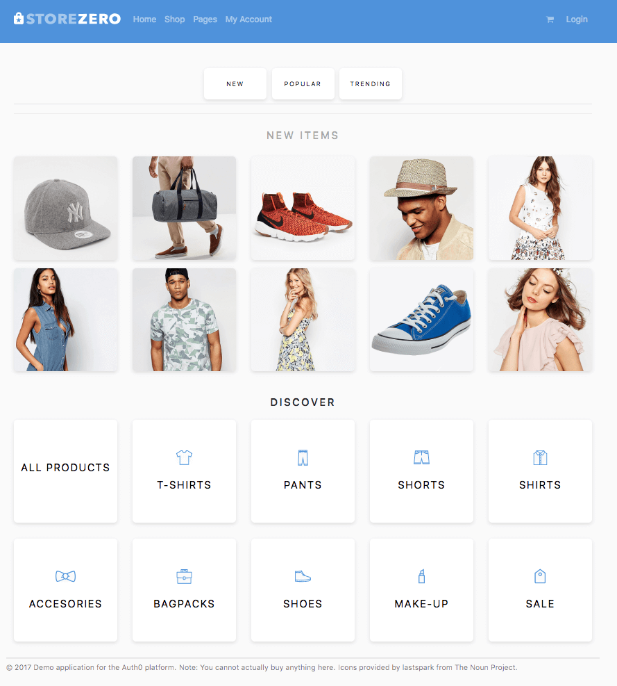 Example e-commerce website Storezero.io