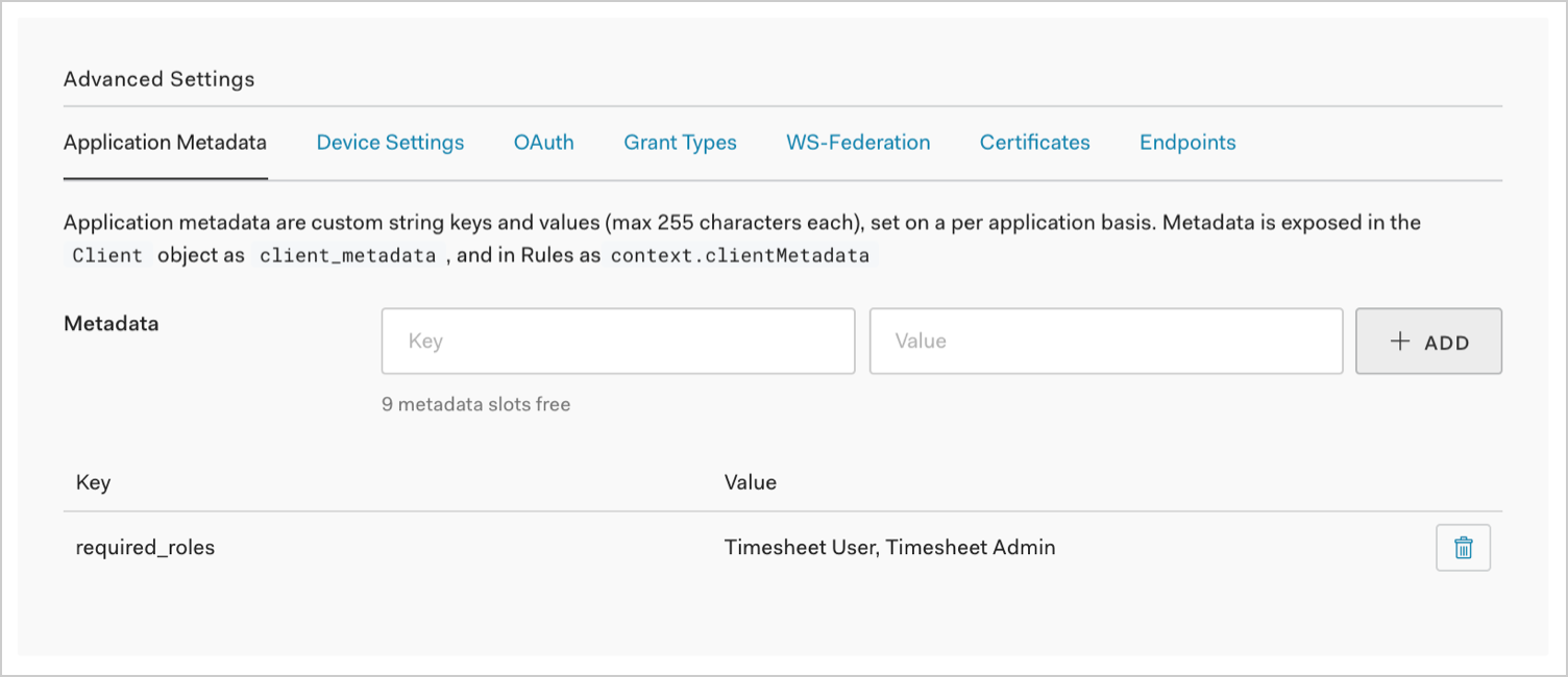 Dashboard - Extensions - Authorization Extension - Advanced Settings - Required Roles