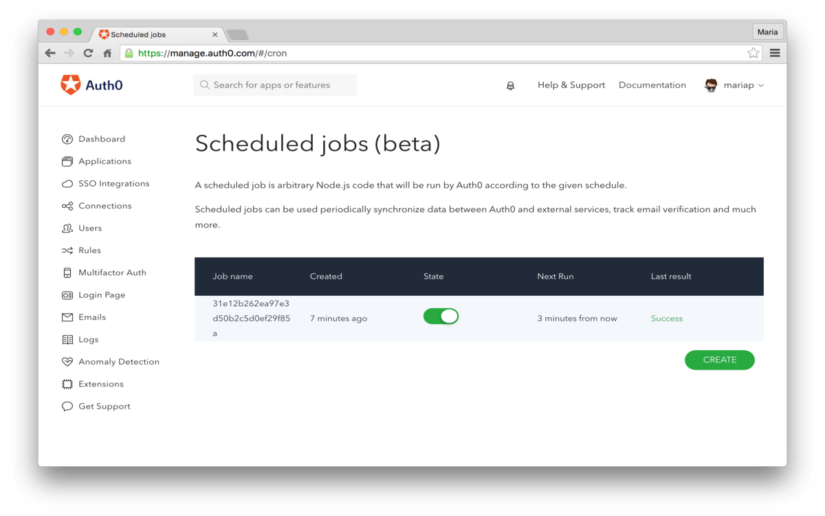 Dashboard - Extensions - Logentries - View Cron Jobs