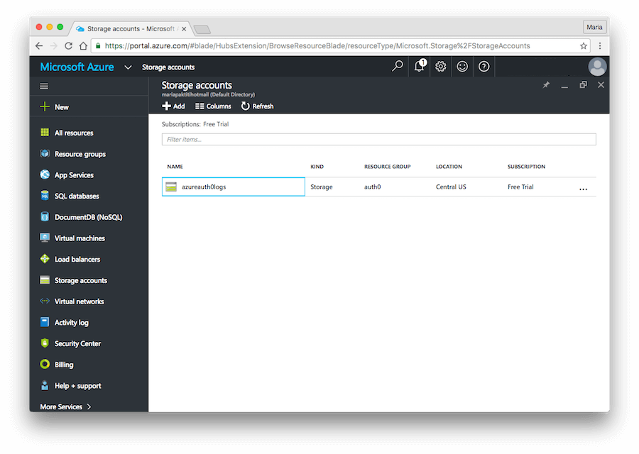 Dashboard - Extensions - Azure - Storage Account Name