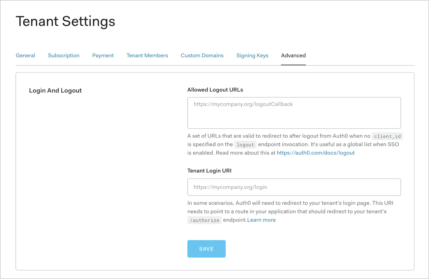 Auth0 Dashboard Settings Advanced Tab Login and Logout