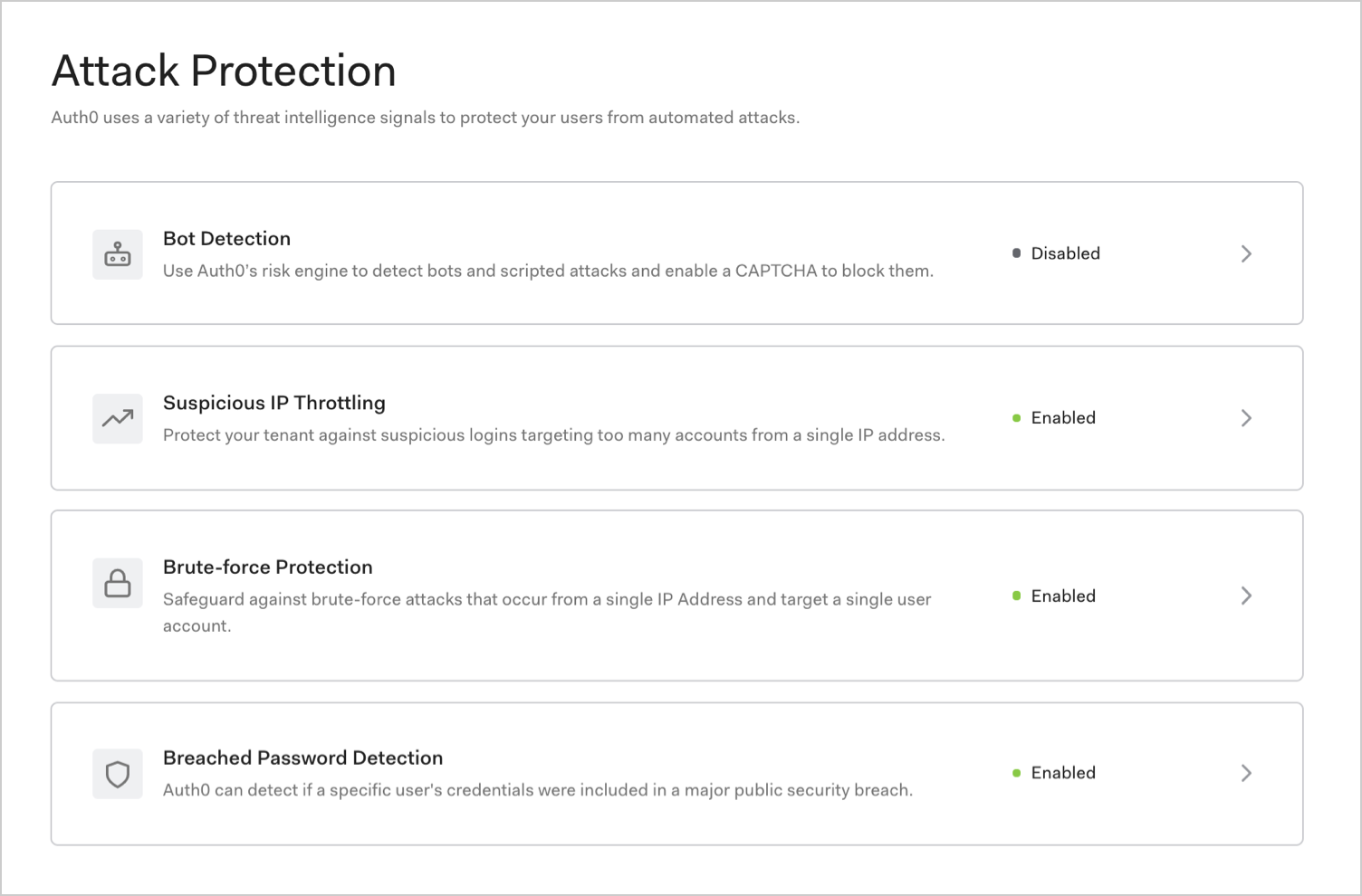 Dashboard - Attack Protection