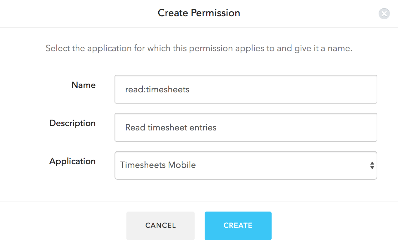 Dashboard - Extensions - Authorization Extension - Create Permission